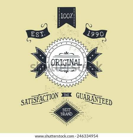 hand lettered catchword vintage tag - stock vector