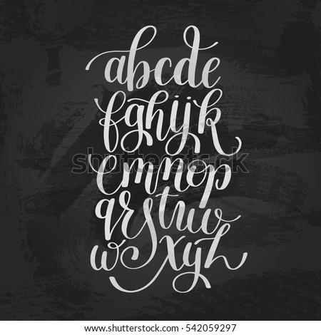 hand lettering alphabet design handwritten brush script modern calligraphy cursive font vector illustration