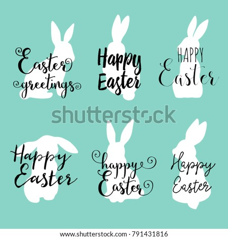 Hand lettering happy easter greetings phrases stock vector royalty hand lettering happy easter greetings phrases with cute sitting bunny m4hsunfo
