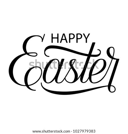 Hand Lettering Scrit Happy Easter Fancy Calligraphy Text Isolated On White Background Vector