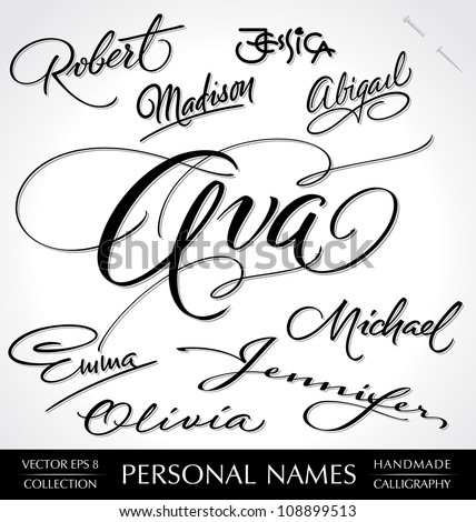 hand lettering set of 9 common personal names, handmade calligraphy, vector (eps8);