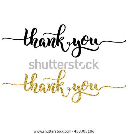 Hand Lettering Thank You Black Ink Stock Vector 458005186