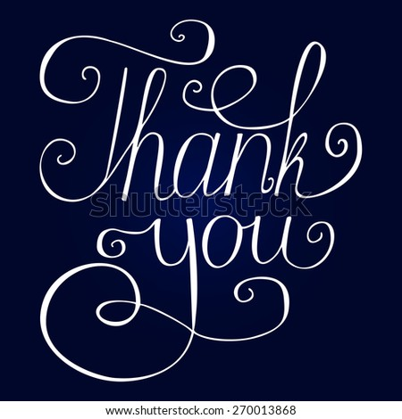Hand lettering thank you vector - stock vector