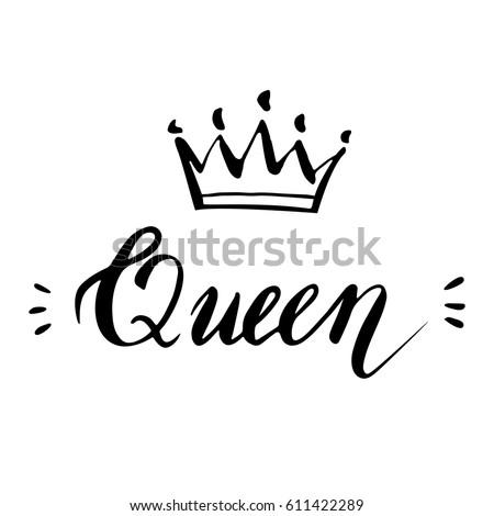 hand lettering word queen background crown stock vector
