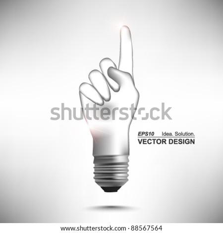 hand lightbulb conceptual vector design - stock vector