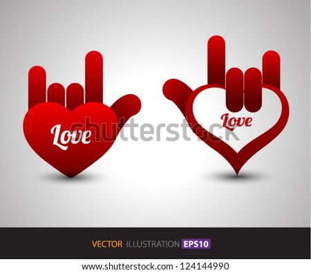 Hand Love vector / for love / valentine's day / concept for gift card / about love. / wedding - stock vector