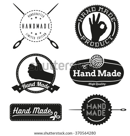 Hand Made design insignias logotypes Vector vintage elements - stock vector