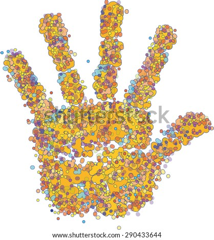hand made from circles of different colors - stock vector