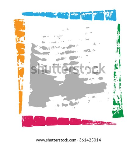 Hand made grunge color frame with space for text. - stock vector