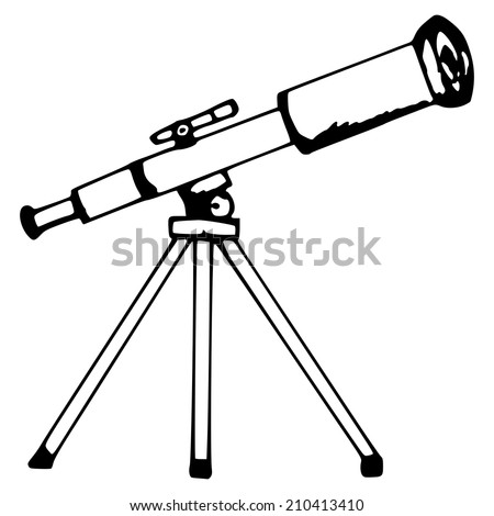 hand made illustration, the telescope - stock vector