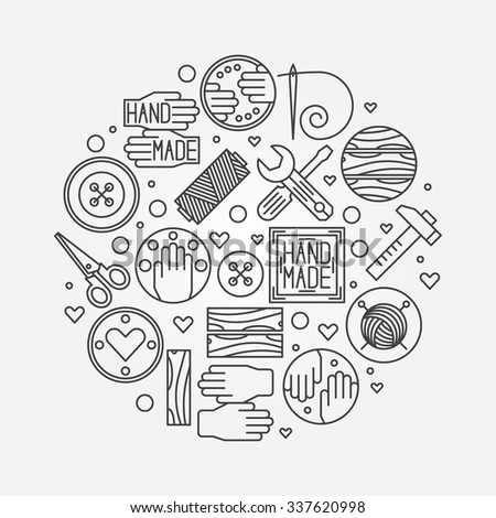 Hand made illustration - vector outline design element or logo design