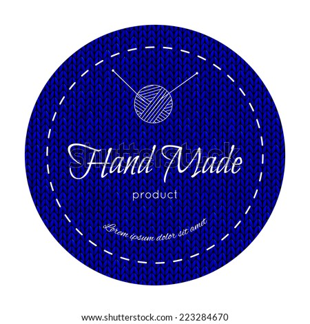 Hand made knit label.  Used mask seamless knitted pattern.