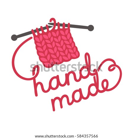 Hand Made Lettering Written With Knitting Thread Craft Products Store Logo Design Drawn