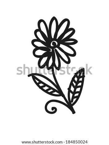 Hand made sketch of flower isolated