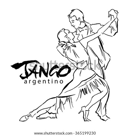 Hand made sketch of tango dancers. Vector illustration. Use for tango studio posters, flayers, web-sites. Tango inscription.  - stock vector