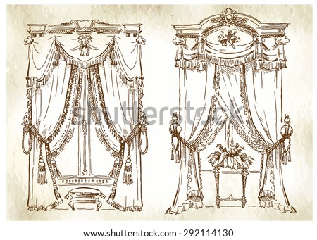 Hand made vector sketch of cozy interior elements. Curtain decoration. - stock vector
