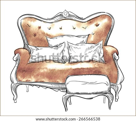 Hand made vector sketch of cozy interior fragment - stock vector