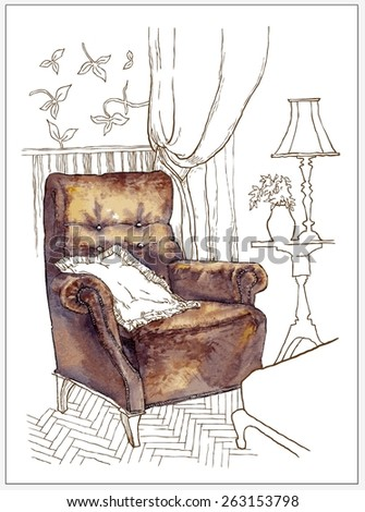 Hand made vector sketch of old armchair - stock vector