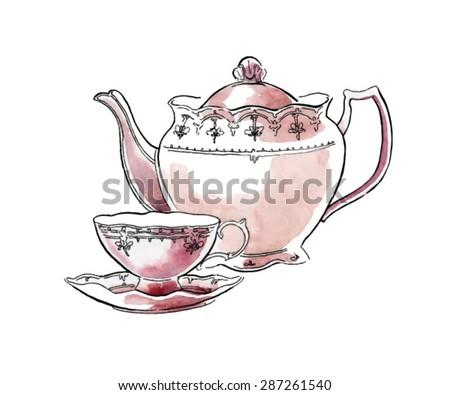 Hand made vector sketch of tea service. Watercolor artwork.  - stock vector