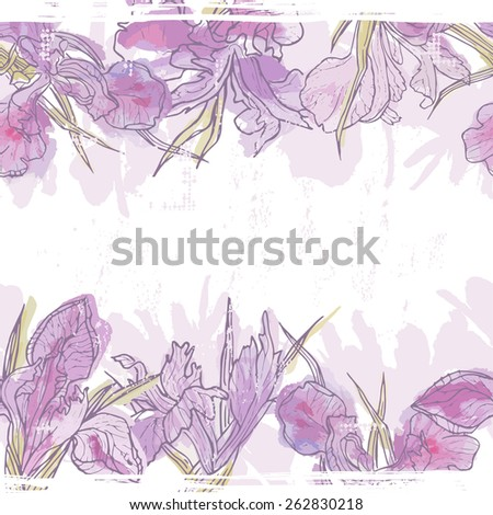 Hand made watercolor iris flowers seamless banner. All objects are conveniently grouped  and are easily editable. - stock vector