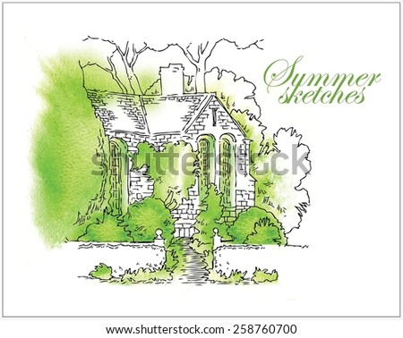Hand made watercolor vector sketch of summer, trees and houses