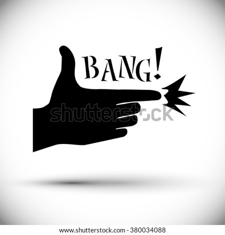 Hand making a shape of a shooting gun. Tolerant illustration of a shoot with a black aiming hand and bang text. - stock vector