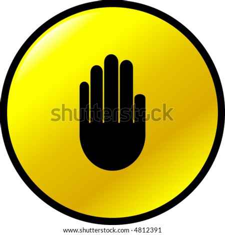 hand making a stop signal button - stock vector