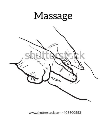 hand massage, vector illustration sketch drawn by hand with the concept of medical relaxation body massage human limb, a person does massage, hand massage, medical massage, massage therapy
