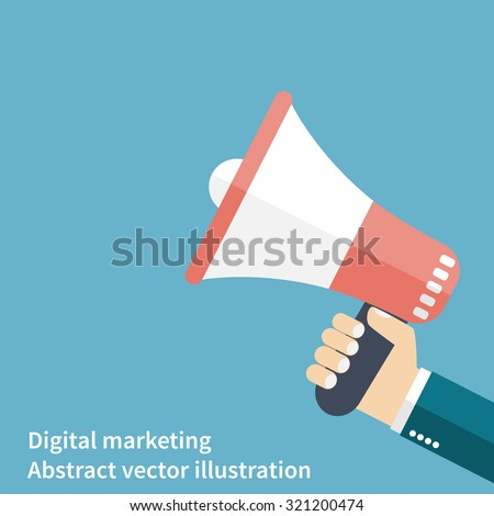 hand megaphone. promotion and advertising. icon in flat style. Digital marketing. Business concept. Vector illustration - stock vector