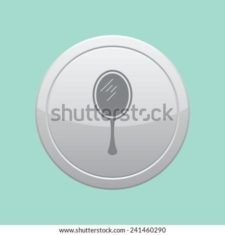 Hand mirror vector icon. Gray round button. - stock vector