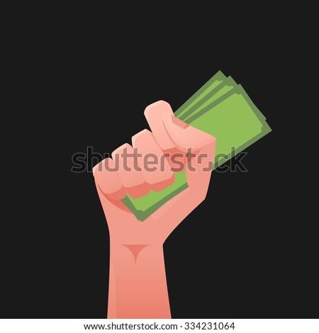 Hand & money illustration - stock vector