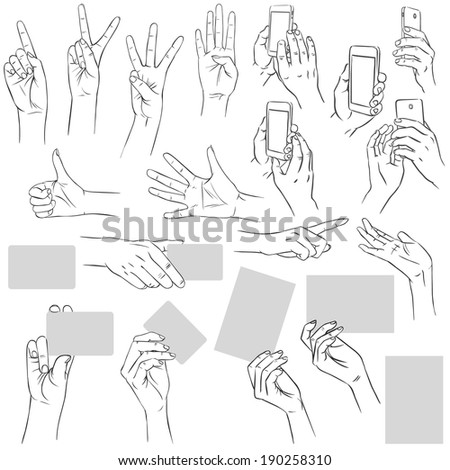 Hand movements. Big collection. Vector hand drawn illustration - stock vector