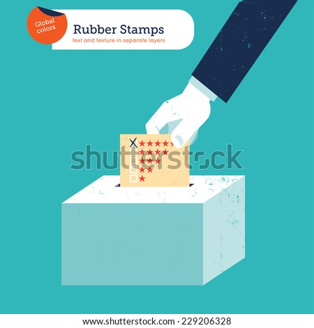 Hand of a businessman  putting a rating voting ballot in a slot ballot box. Vector illustration Eps10 file. Global colors. Text and Texture in separate layers. - stock vector