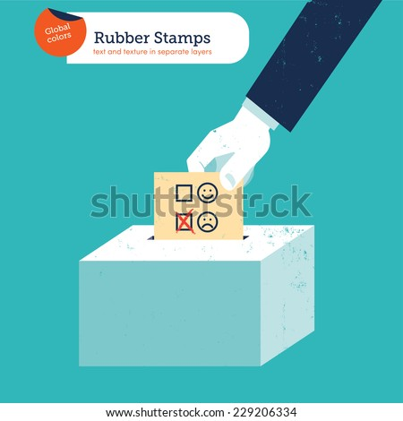 Hand of a businessman putting a sad smiley voting ballot in a slot ballot box. Vector illustration Eps10 file. Global colors. Text and Texture in separate layers. - stock vector