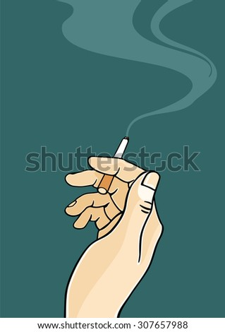 Hand of a man holding a cigarette - stock vector