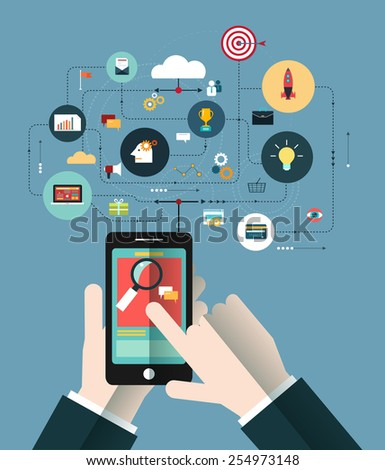 Hand of Business people with the phone connect in the on line space. Concept of communication-Marketing network. Business technology - stock vector
