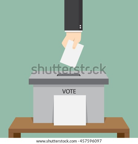 hand of businessman hold paper vote to ballot box, flat design