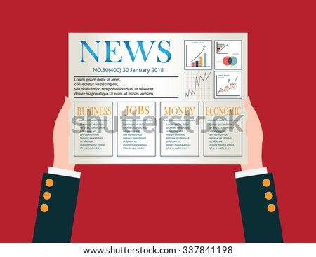 Hand of Businessman holding a daily newspaper, job, money, economic,business conceptual vector illustration. - stock vector
