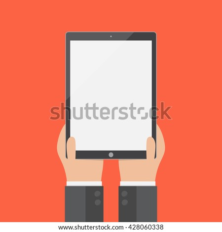 hand of businessman holding tablet and hand touch, flat design, vector eps10