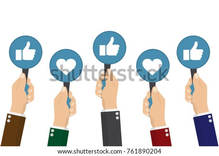 hand of businessman,many hands with thumbs up feedback. Vector illustration