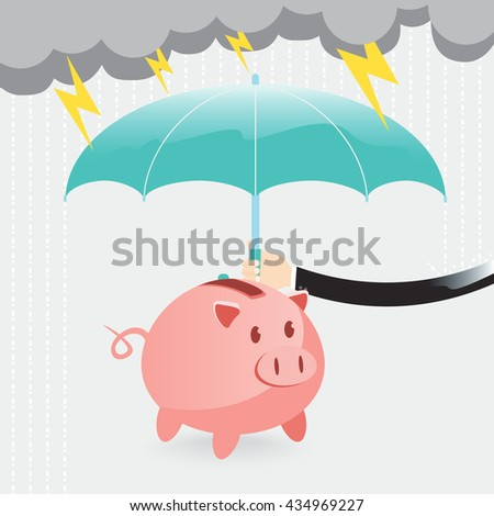 hand of businessman use umbrella protecting piggy bank from rain and lightning