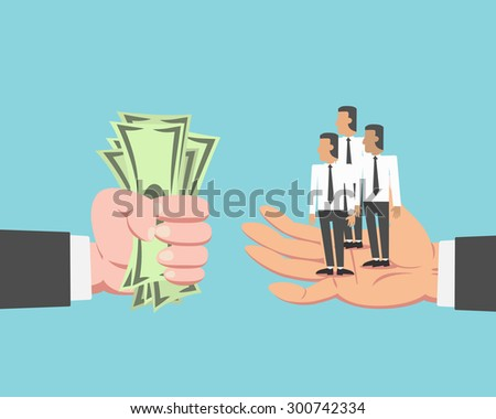 Hand of businessman with money buying employee and labor isolated on blue background - stock vector