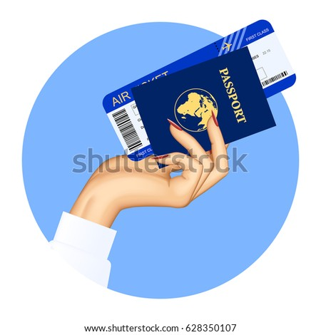 Hand of stewardess with passport and air ticket on round blue background. Vector illustration