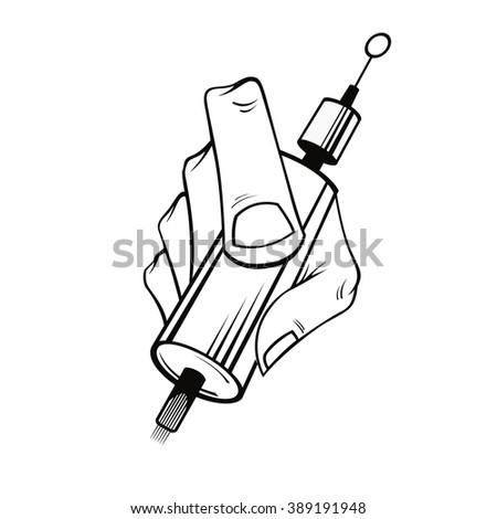 hand tattoo artist tattoo machine white stock vector 389191939