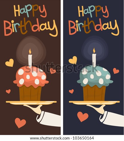 hand of the waiter's tray with the cake. - stock vector