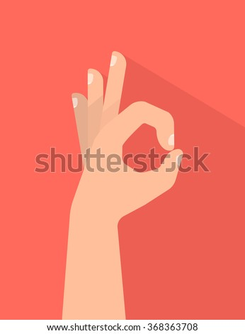 Hand OK sign. Communication gestures concept. Vector illustration with shadow isolated on colorful background flat design. - stock vector