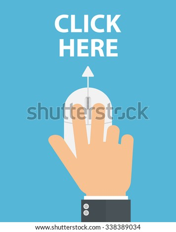 Hand on computer mouse pointing to click here text. Flat style - stock vector