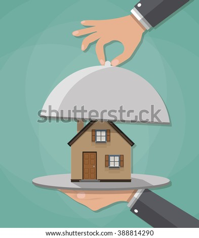 Hand opens serve cloche with house inside. present concept. vector illustration in flat design on green background. - stock vector