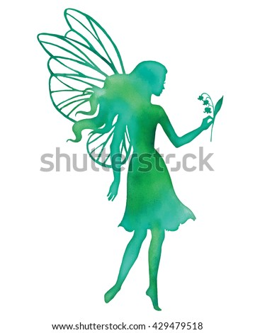 Hand paint fairy holding a flower, watercolor vector silhouette illustration. - stock vector