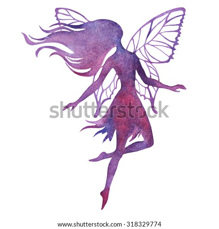 Hand paint fairy watercolor vector silhouette illustration - stock vector